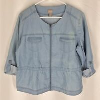 CHICO'S CHAMBRAY TOP Shirt SIZE 1 Zip Front Blue Womens