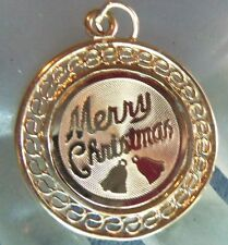 14 K SOLID YELLOW GOLD MERRY CHRISTMAS CHARM 1 INCH 3.4 GR VINTAGE nice