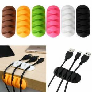Cable Winder Earphone Cable Organizer Wire Storage Silicon Charger Holder Black