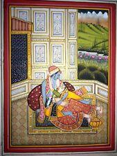 Radha Krishna Art Handmade Religious Watercolor Jaipur School Old Painting