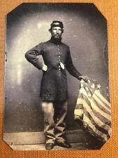 Civil War Soldier With American Flag Historical Museum Quality tintype C628RP
