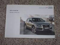 2011 Audi Q5 Quattro SUV Owner Manual User Guide Premium Plus Prestige 2.0T 3.2L