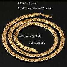 Damen Herren Echt 750er Gold 18K Gelbgold Panzerkette Halskette vergoldet 55cm