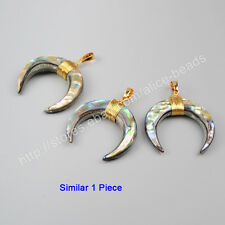 1Pcs Crescent Moon Horn Dyed Natural Shell Wire Wrap Gold Plated Pendant HG1122