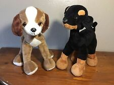 """LOT OF 2 GOFFA POSABLE TAN BLACK BROWN DOGS PUPPY DOBERMAN PINCHER BENDABLE 12"""""""