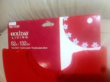 New Holiday Living Christmas Tree Skirt 52in Red with Pointsetta Flowers