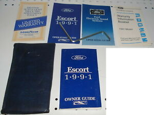 1991 Ford Escort Owner Guide Operating Guide Manual Set with OEM Sleeve