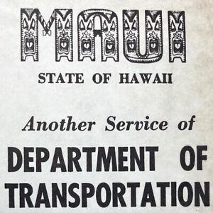 1968 Maui Department Transportation Map Program Kihei Lahaina Wailuku Kahului