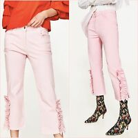 SALE Pink Frilled Hem Cropped Trousers Jeans XS S M UK 6 8 10 US 2 4 6 Blogger ❤