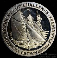 Isle of Man 1 Crown 1987 Gem BU PL KM#184 America's Cup Statue Liberty & Sailboa
