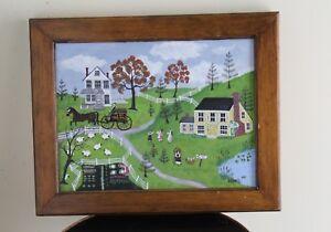 Betty Baumer -Original Landscape Folk Art Farm Scene Primitive Painting -Signed