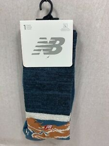 ONE PAIR NEW MENS NEW BALANCE CREW SOCKS COTTON / POLY SIZE LARGE MSRP $13.00