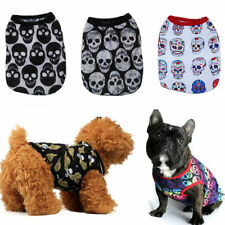 Skull Print Dog Vest Jacket Casual Puppy Costumes Cat T-shirt Coat Pet Apparels