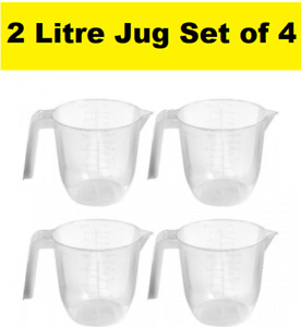 Wham 2L Clear Plastic Measuring Jug x4 Kitchen Stackable Home Hotel Cooking 2021