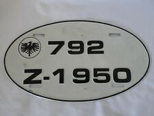 Vintage European Oval  License Plate (30944)