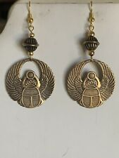 New Item-Hand-Crafted Vtg. Egyptian Revival Golden Bronze-Winged Scarab Earrings