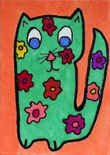 """Flower Power Cat"" - Original Outsider ACEO Painting * GlowinGlass *"