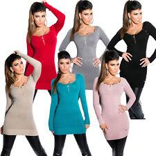 Feinstrick Longpullover Long Pullover Minikleid Strickkleid Pullikleid Nieten 36