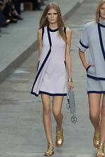 Chanel 15S Runway 100% Cashmere Dress Lilac Pink Navy Trim FR36 UK8 S XS