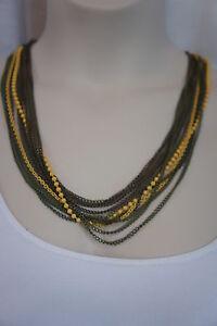 Macy's Necklace Multi Tone Bronze Green Yellow Dangle String Multi Layered