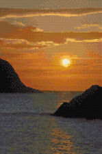 "Beautiful Sea / Water / Rocks Sunset, Landscape Cross Stitch Kit 8""x12"" 14 Count"