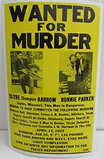 VINTAGE BONNIE AND & CLYDE  POSTER  WANTED 4 MURDER Joplin Missouri '30s MOB