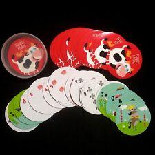"Playing Cards Round Circle Funny Farm Theme 54 Pcs International Greetings 2.75"""