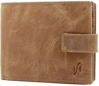 Starhide Mens Bifold Real Distressed Leather Wallet With Zip Coin Pouch 1180 Tan