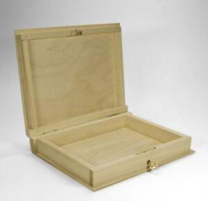 abschließbare Buch-Box, Buchschatulle, aus Holz, Kiefer unbehandelt