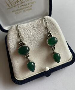 Vintage 925 Silver & Green Onyx Boho Style Drop Dangle Earrings Pierced Ears
