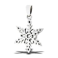 Sterling Silver SNOWFLAKE Pendant CHRISTMAS Charm winter snow 925 .925