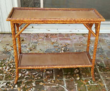 Antique English Regency Faux Tortoise Shell Bamboo Wicker Top Console Table