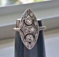FINE VINTAGE ESTATE ART DECO 18K PLATINUM 0.55CT DIAMOND STYLISH MARQUIS RING