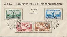 ITALY 1953 SOMALIA A.F.I.S. SECOND EXHIBITION F.D.C .4V