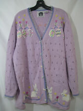 STORYBOOK KNITS Purple EASTER EGGS & BUNNY Cardigan Sweater EYELET KNIT sz 2X