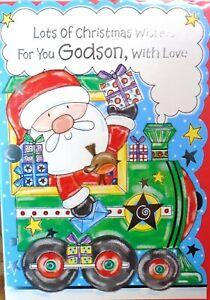 GODSON CHRISTMAS CARD ~ Cute Santa Train With Presents