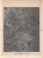 1903 Astronomía alemán impresión ~ detallado parte de superficie lunar montañas appeninen