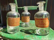 Antique chemist apothecary glass bottle jar. German school X 3