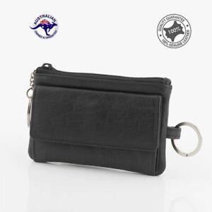 Genuine Full Grain Leather Unisex  Key Holder Case Coin Card Wallet Black New