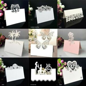 50 Pcs Hollow Pattern Heart Shape Party Decor Place Laser Cut Table Name Card