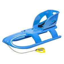 Kinderschlitten Schlitten Rodel mit Rückenlehne Schlittenaufsatz BULLET blau
