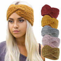 Fall Elastic Crochet Knitted Wool Ear Warmer Cross Headband Headwrap Hairband