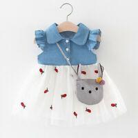 Toddler Baby Kids Girl Patchwork Ruched Print Tulle Tutu Dress Princess Dress f8