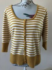 Tu Striped Mustard White Button Up 3/4 Sleeve Cardigan Size 16