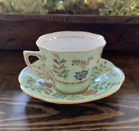 Rosina England 100% Bone China Tea Cup And Saucer Gold Decor Sage Green Floral