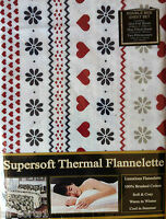 DOUBLE BED FLANNELETTE SHEET SET WHITE HEART NAVY WINE RED FLORAL BRUSHED COTTON