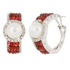 18k White Gold 0.56ctw Cultured Pearl Ruby & Diamond Hoop Earrings