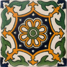 #C061) Mexican Tile sample Ceramic Handmade 4x4 inch, GET MANY AS YOU NEED !!