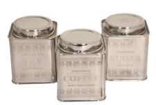 Vintage Design Airtight Tea Coffee and Sugar Square Canisters Set of 3