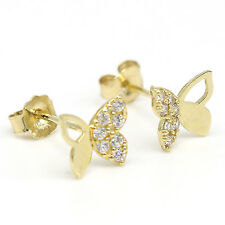 14k Solid Yellow Gold Earrings 7925 Charming Butterfly Cubic Design Lovely